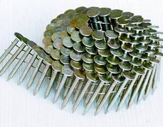 A coil of stainless steel roofing nails
